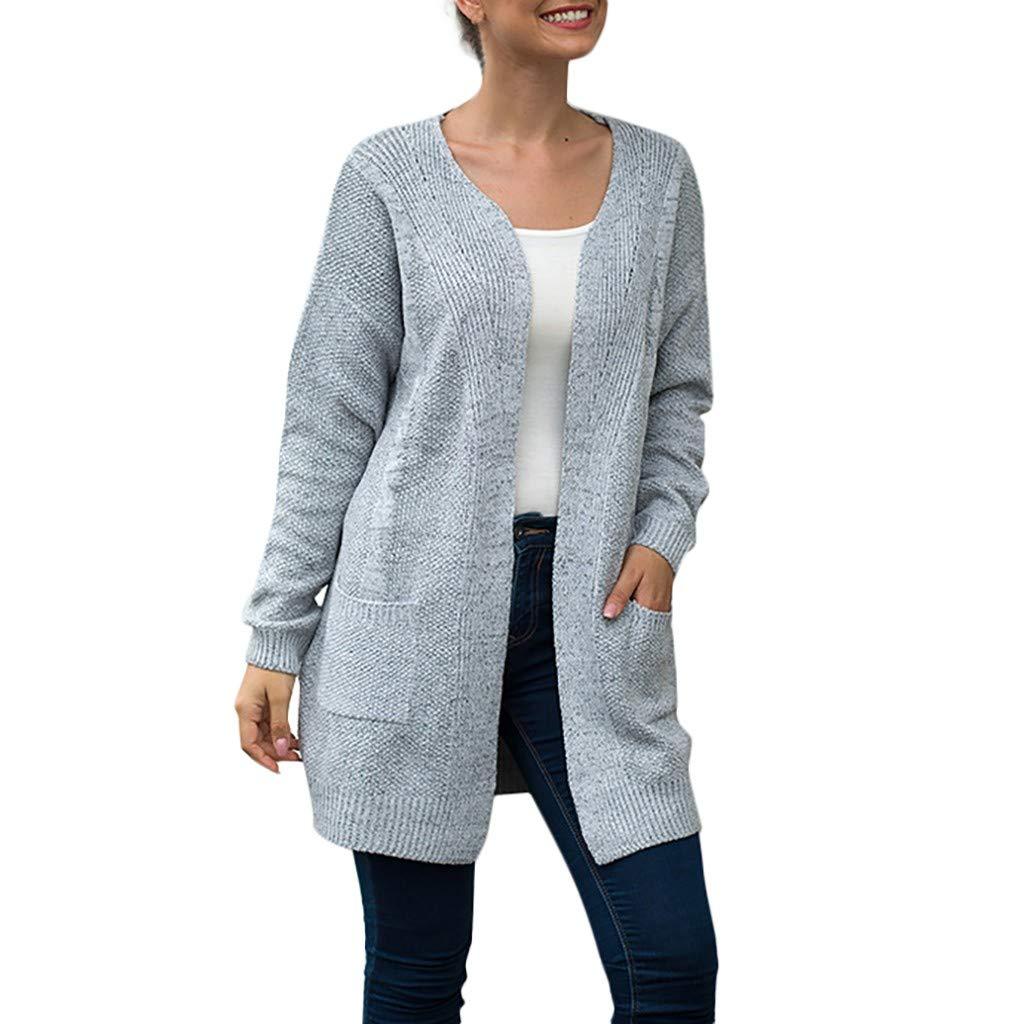 Yemenger Cardigan with Pockets for Women Open Front Bat-Wing Solid Cardigan Sweaterst Dusters Knitwear Coa Gray by Yemenger_women tops