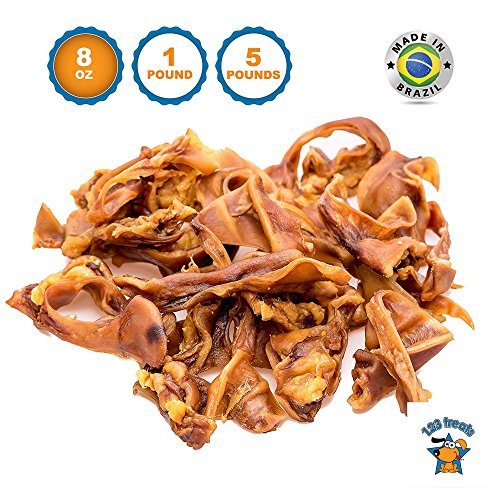 123 Treats - Pigs Ears Strips for Dogs 8 Oz Dog Treats Bag - 100% Natural Pigs Ear Slivers Chews Full of Protein Snacks Made in Brazil