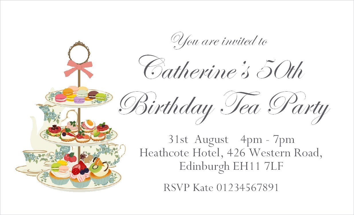 40 Personalised Magnetic Afternoon Tea Party Invitations For 18th 21st 30th 40th 50th 60th 70th 80th Or Any Age