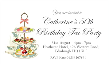 40 Personalised Magnetic Afternoon Tea Party Invitations for 18th