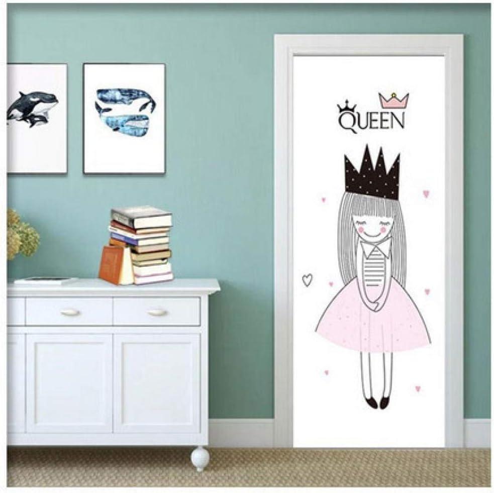 Pegatinas De Puerta En 3D Corona De Princesa Vinilo Decorativo Pegatina De Pared Adhesiva Acuarela Para Dormitorios Habitaciones Infantiles 77X200 Cm