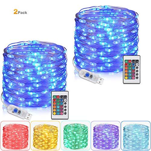 Tesyker 2 Pack Fairy Lights, Lights for Bedroom with Remote Plug in Led String Lights, 16 Color Changing Lights USB Fairy Lights for Patio Indoor Party Costume 33 Ft 100 LEDs, Multicolor Lights (Fairy Indoor Led Lights)