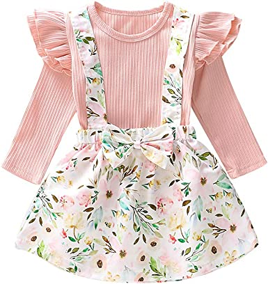 Baby Girl Infant Plain Ruffle Long Sleeve T Shirts Floral Print Overall Skirt Set