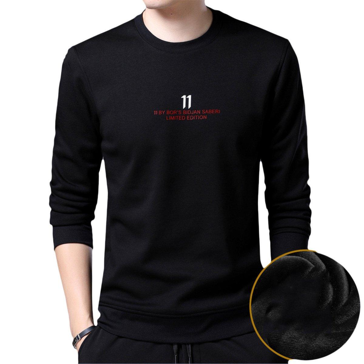 Männer Langarm-T-Shirt Herbst Und Winter Pullover Sweatshirts Rundhals Solid Farbe Winter Warme Pullover Plus Samt Primer Shirt