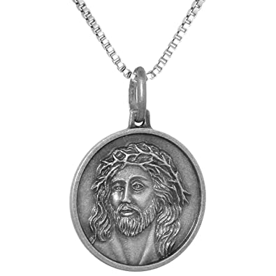 Amazon sterling silver jesus crown of thorns medal necklace 34 amazon sterling silver jesus crown of thorns medal necklace 34 inch round antiqued finish italy 16 inch box015 jewelry aloadofball Image collections
