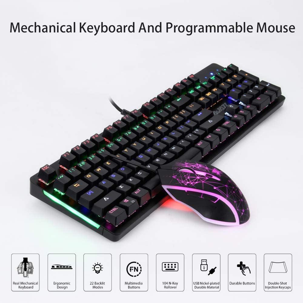 NACODEX Warder Mechanical Gaming Keyboard and Mouse Combo Black Switch 104 Keys Anti-Ghosting RGB Backlit Floating Keyboard Black Switches Black 3200 DPI 6 Programmable Button Mouse Wired
