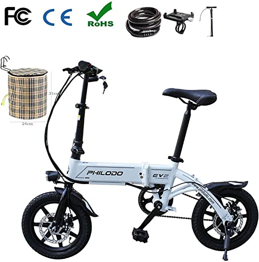 Plegable Bicicleta Eléctrica City Montaña 14 Doble Freno Disco ...