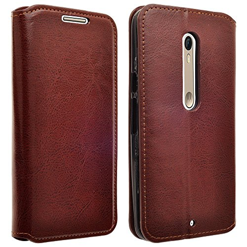 Droid Maxx 2 Case, Customerfirst Droid Maxx 2 Wallet Case, Luxury PU Leather Case Flip Cover Built-in Card Slots & Stand For Motorola Moto Droid Maxx 2- With 1 Emoji Key Chain (Leather Brown)