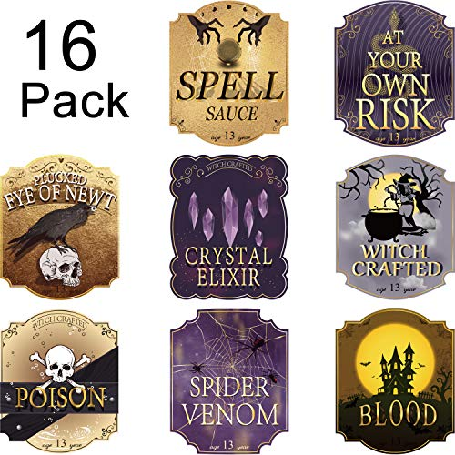 Halloween Apothecary Labels Printable (Nuanchu 16 Pieces Halloween Wine Bottle Labels Party Decoration Luxury Wine Labels Accessories Stickers with)