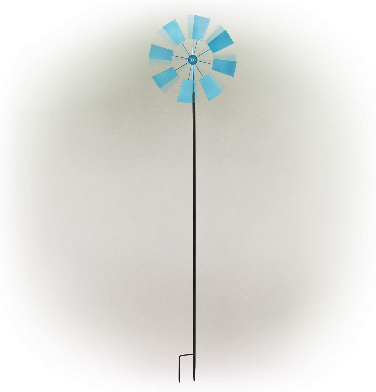Alpine Corporation KIY102BL Metal Windmill Stake-Kinetic Spinner Outdoor Yard Art Decor, 52-Inch Tall, Blue