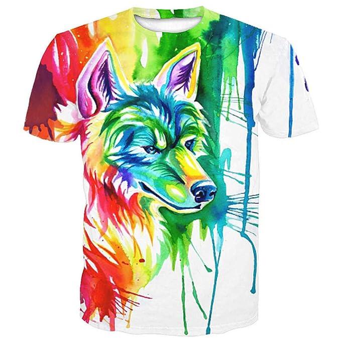 sports shoes 0b274 82467 T-Shirt Graffiti Color Wolf Print Fashion Uomo EUR Taglia ...