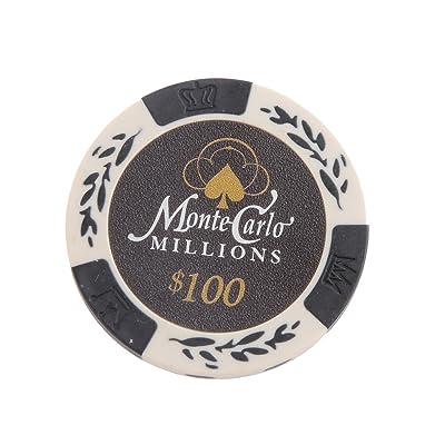 10pcs Monte Carlo Jetons De Poker Etiquette De Casino Chips avec Valeur Dollar 1-10000 - 100, /