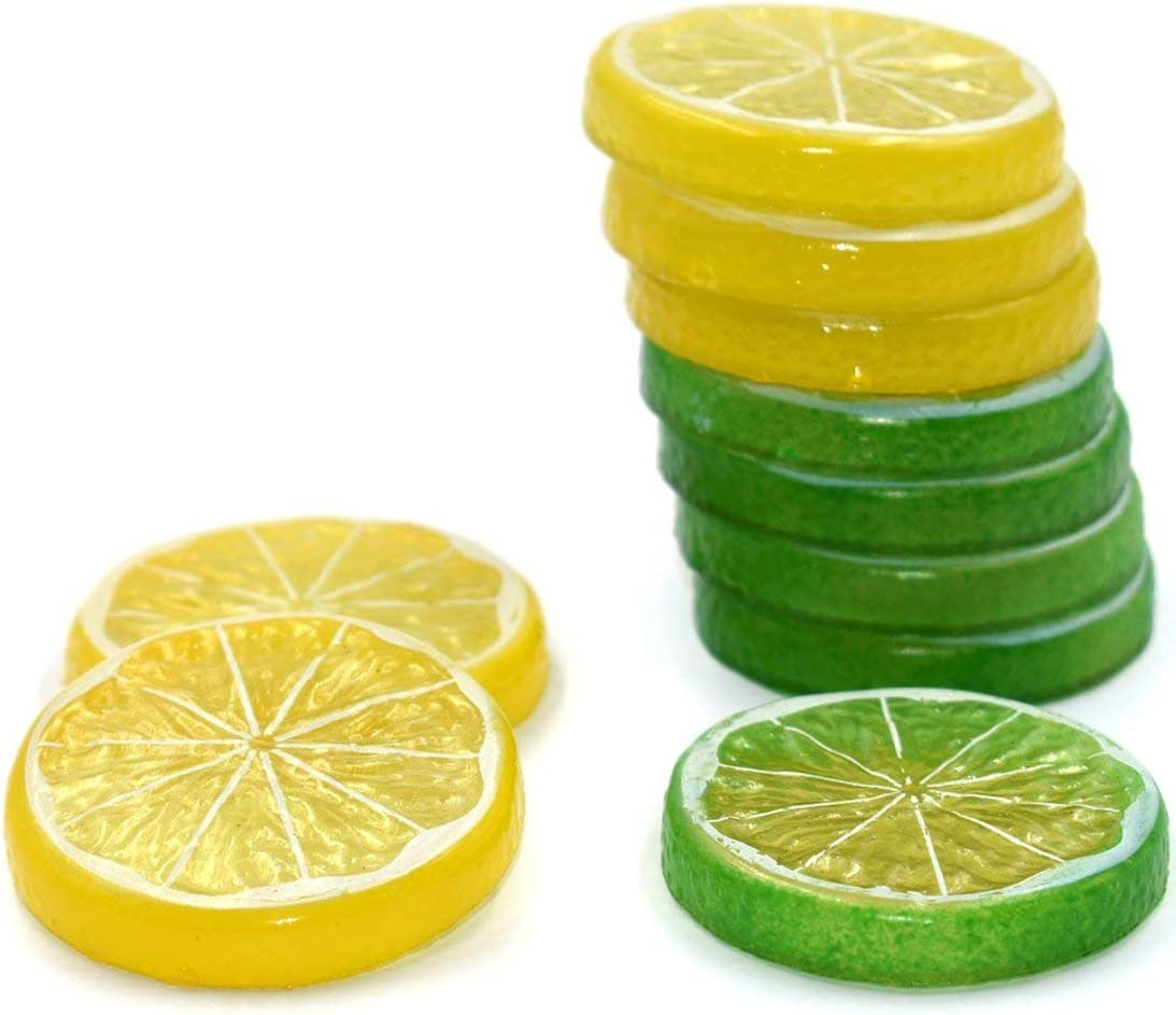 Hagao Fake Lemon Slice Artificial Fruit Highly Simulation Lifelike Model for Home Party Decoration Yellow Green 10 pcs