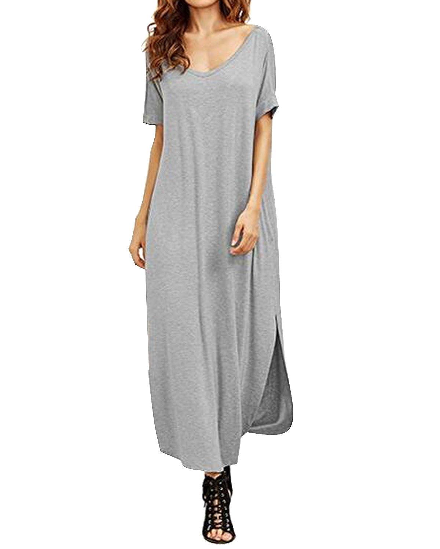 533295966d Kidsform Women Long Maxi Dress Side Split Casual Loose Short Sleeve Beach  Sundress with Pockets Grey M at Amazon Women's Clothing store:
