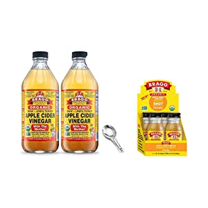 Bragg Organic Apple Cider Vinegar With the Mother 16 Oz Pack of 2 w/ Measuring Spoon and Bragg Organic Apple Cider Vinegar Shot with Honey 2 Oz ACV Shot Pack of 4 Bundle