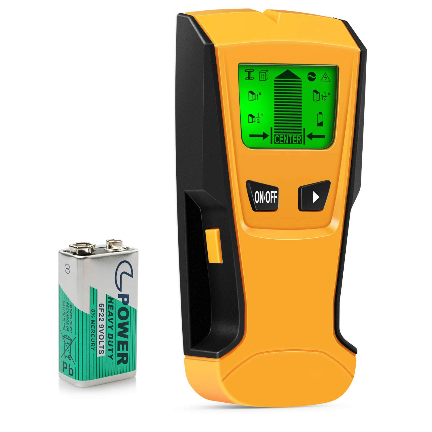 PERLESMITH Stud Finder Wall Detector 5 in 1 - Electronic Stud Sensor Wall Scanner Center Finding - with Battery LCD Display for Wood Metal Studs AC Wire Detection