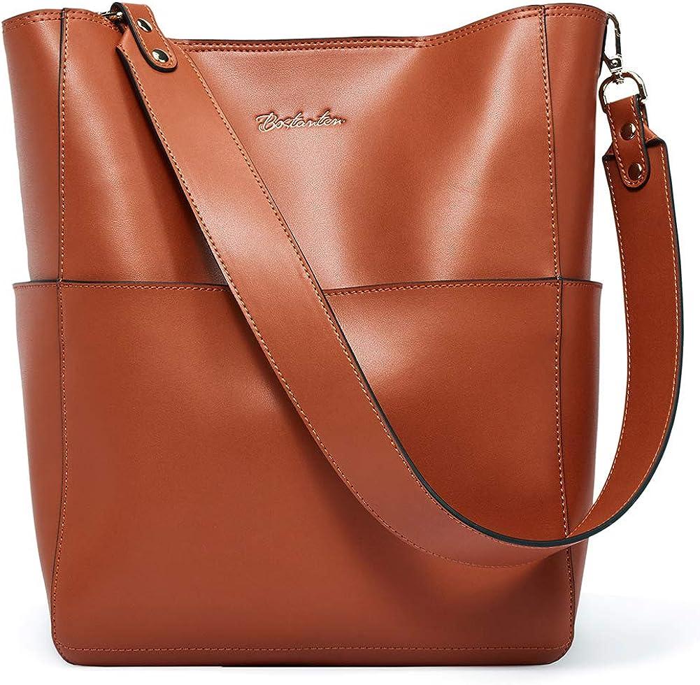 BOSTANTEN Women's Leather Designer Handbags Tote Purses Shoulder Bucket Bags