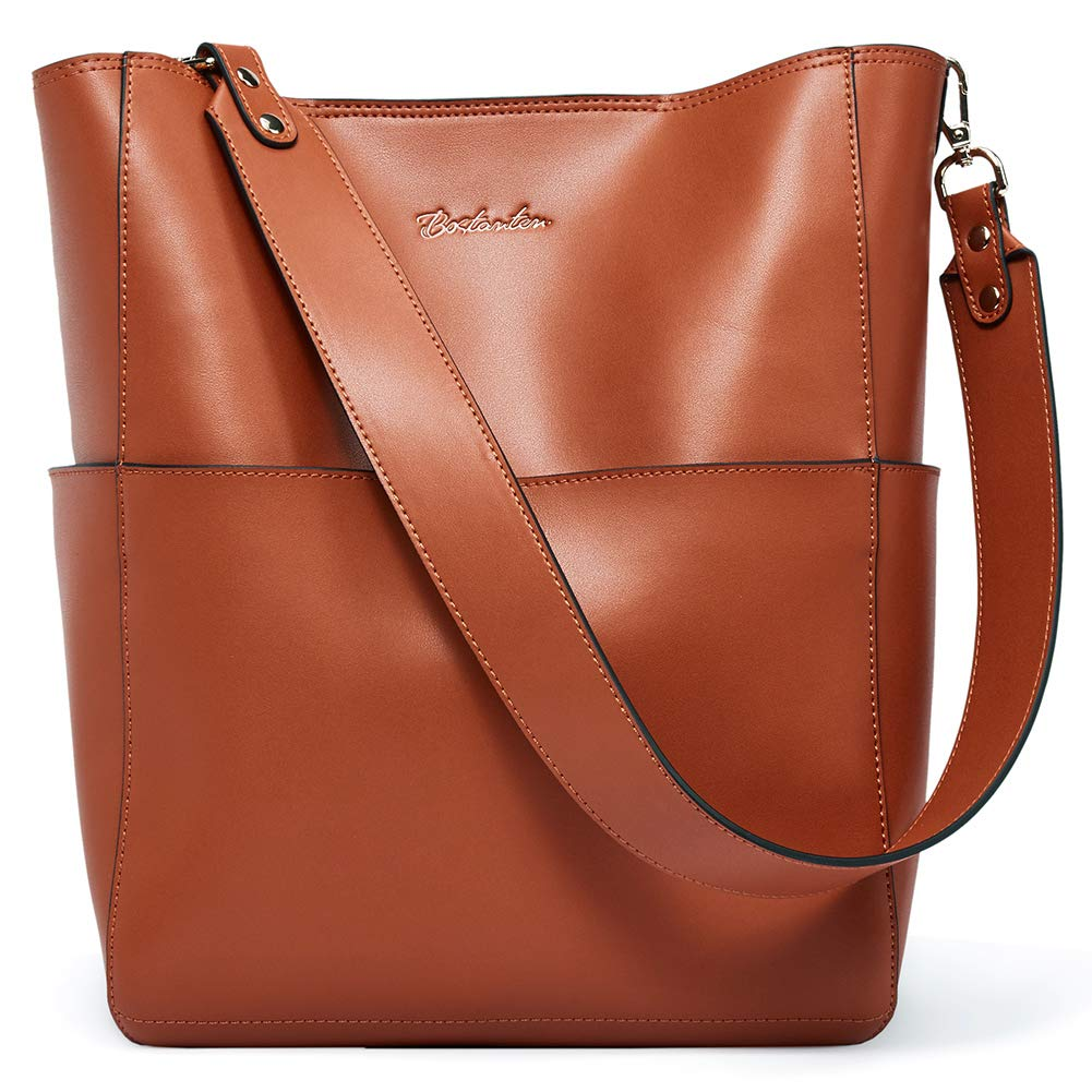 BOSTANTEN Women's Leather Designer Handbags Tote Purses Shoulder Bucket Bags (brown) by BOSTANTEN