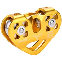 Climbing Pulley, Dual Pulley Zip Line Cable Trolley Equipment 30KN for Outdoor Rock Climbing