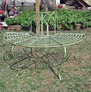 1/2 Round Tree Bench/plant Stand   Wrought Iron   Antique Mint Green