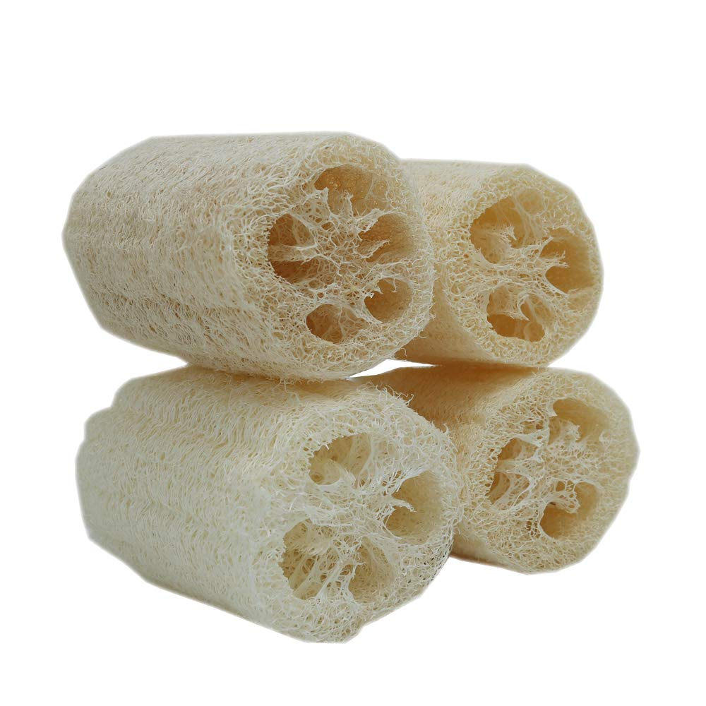 4 Natural Loofah Exfoliating Body Sponge Scrubber Luffa Loffa Loofa Lofa with Hang Rope for Skin Care in Bath Spa or Shower Pack of 4 Shenzhen Sumer Technology Co. ltd