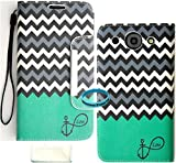 Wireless Fones TM Branded Teal Block Anchor Infinity Love Chevron Trendy Faux Leather Wallet Case for LG Optimus G Pro E980.
