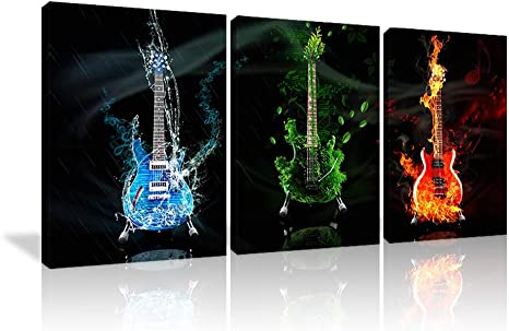 PAINTING GUITAR FLAMES MIST Electric PRINT Canvas Wall Art WA71 UNFRAMED-ROLLED