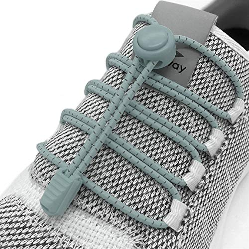 Elastic No Tie Shoelaces - No Tie Laces With Reflective String for Sneakers (Gray)