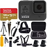 GoPro HERO8 Black Waterproof Action Camera w/Touch Screen 4K HD Video 12MP Photos +Sandisk Extreme 128GB Micro Memory Card +