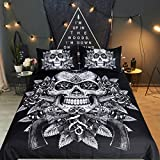 Black and White Bed Sets King Sleepwish Sugar Skull Bedding Guns and Roses Funny Skull Duvet Cover Set 3 Piece Skeleton Flower Goth Bed Cover (King, Black and White)
