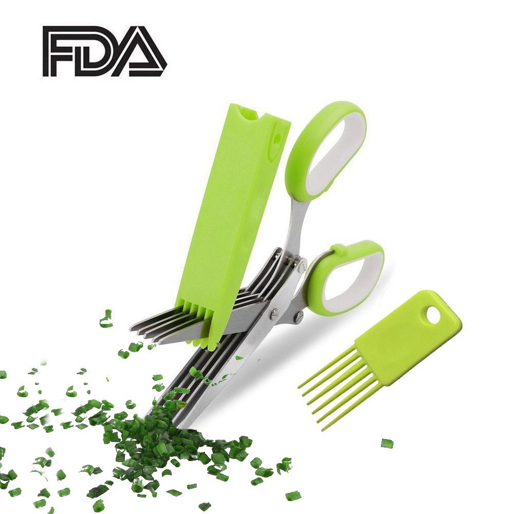 Yooap Herb Green onion Scissors Stainless Steel Set- Multipurpose Cutting Shears with 5 Stainless Steel Blades, Safety Cover with Cleaning Comb - Cutter/Chopper/Mincer for Herbs - Kitchen Gadget