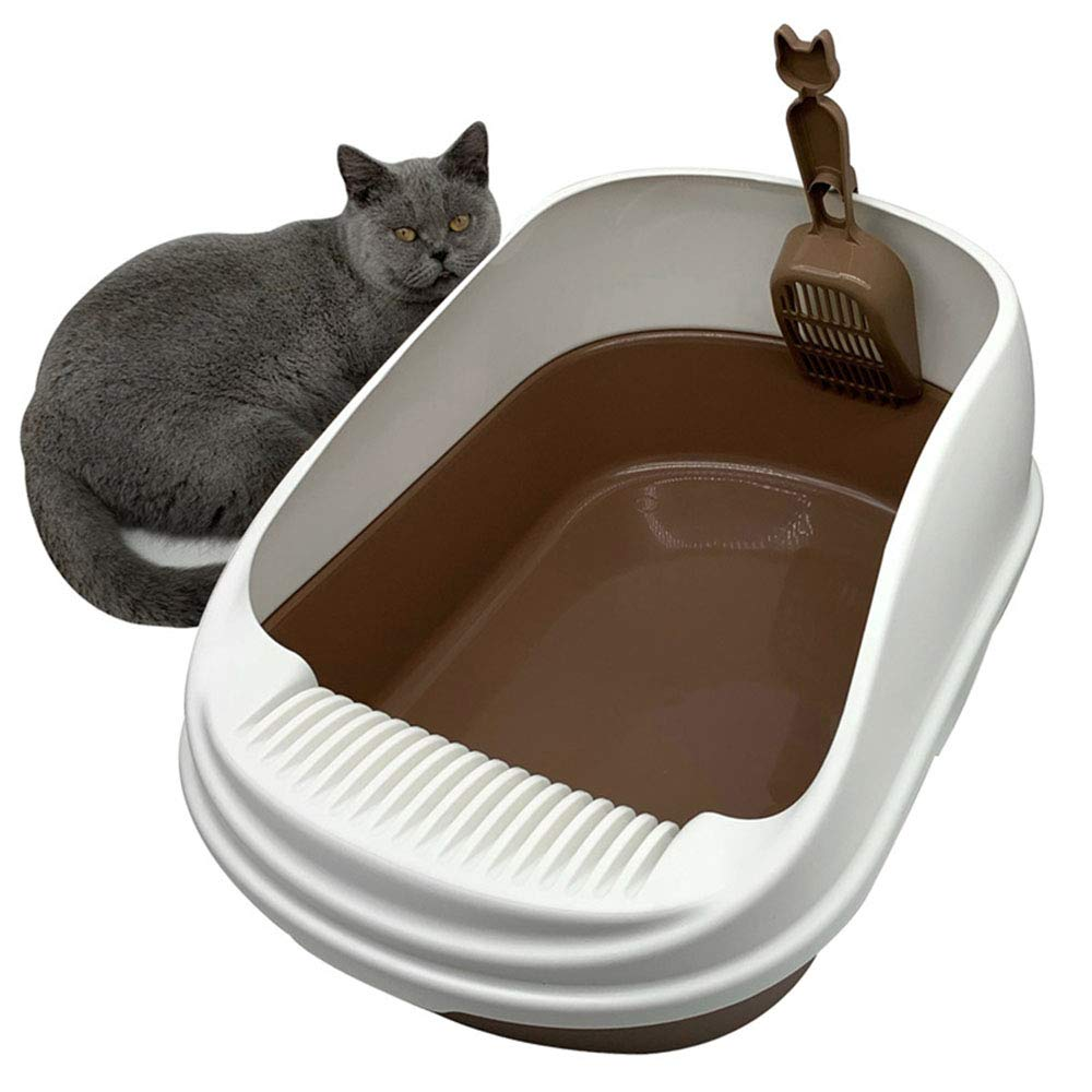 Brown Large Brown Large Semi-Enclosed Cat Litter Shovel Solid Environmental Predection Extra Large Leak-Proof Cat Toilet Easy to Clean Suitable for Larger Varieties Or Multi-Cat Family,Brown,Large
