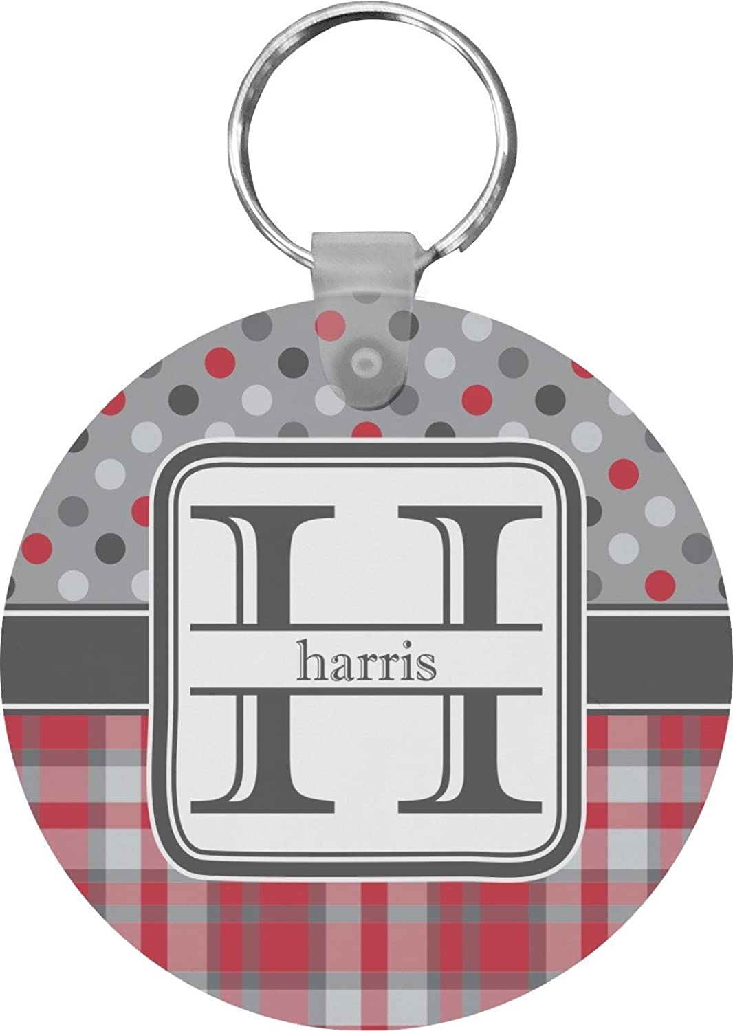 Red & Gray Dots and Plaid Round Keychain (Personalized)