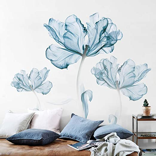 Amazon Com Asdfgh Flower Wall Decals Wall Sticker Living Room Wall Stickers Decor Sticker Botanical Prints Murals Home Decor Art Decoration Bedroom Blue Home Kitchen