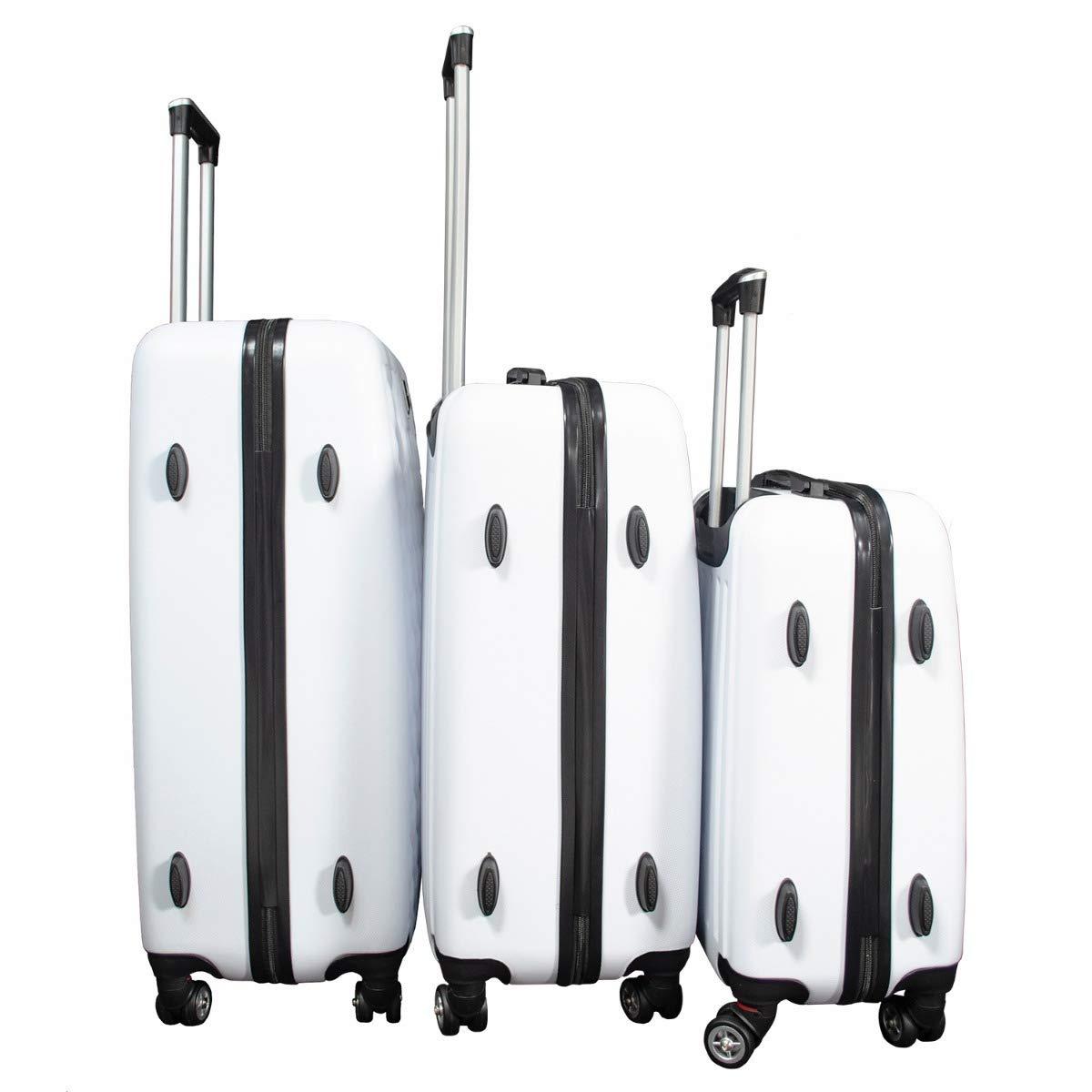 abc8ee37ebe Juego Kit Set de 3 Maletas Rígidas Viaje Resistentes Maleta Excelente  Calidad 8 Ruedas Vacaciones Blanca