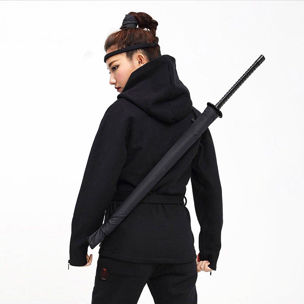 Famiglia Samurai Arte personalit/à Ombrello HUACANG Ombrello Ninja Nero Ombrello Divertente Anime Protezione Solare Lungo Maniglia Ombrello Antivento degli Studenti
