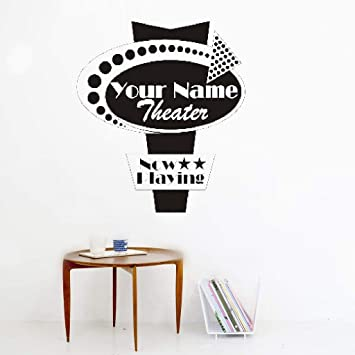 Removable Vinyl Wall Stickers Mural Decal Art Home Decor Home Movie Theater Sign Personalized Name For Home Theater Wall Stickers Murals Amazon Canada