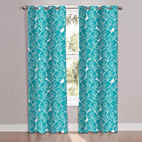Sweet Home Collection 2 Piece Unique Stylish Teal Pattern Window Curtain Panel Set, 84