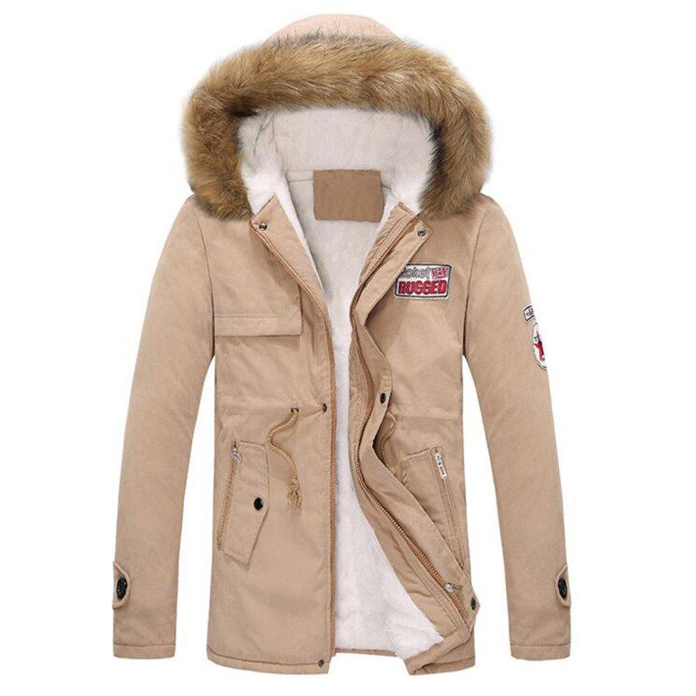 Farjing Coat for Men,Clearance Sale Mens' Autumn Winter Zipper Long Hooded Jacket Coat (3XL,Khaki