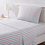 TN 4 Piece Kids Red Blue Stripe Pattern Sheets Set Full Sized, Beautiful Colorful Geometric Lines Bedding Sheet White Orange Rugby Stripe-, Bright Colors, Style, Polyester Microfiber