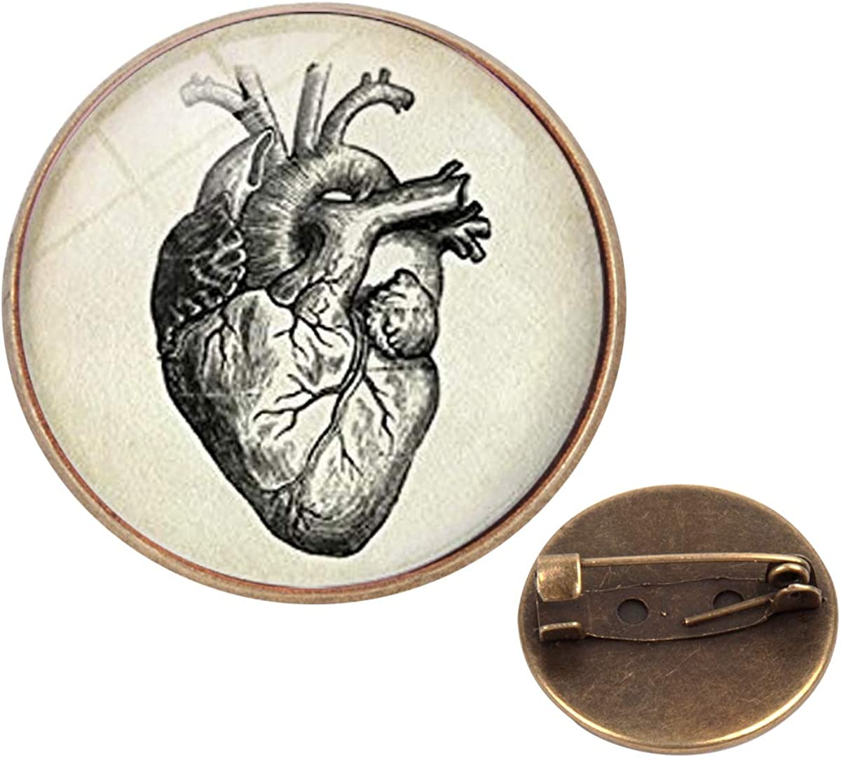 Pinback Buttons Badges Pins Heart Anatomical Drawing Lapel Pin Brooch Clip Trendy Accessory Jacket T-Shirt Bag Hat Shoe