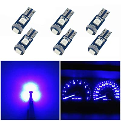 WLJH 6pcs T5 Wedge Instrument Panel 74 2721 3030SMD Canbus Error Free LED Instrument Speedo Gauge Cluster Light Bulb,Blue: Automotive