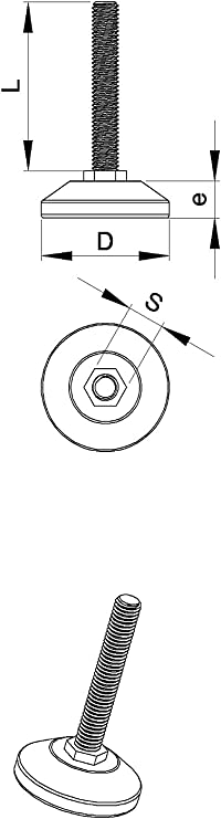 PFX530 Ajile 19 mm tornillos M5 x 30 mm Pata fijada de goma diam 2 unidades