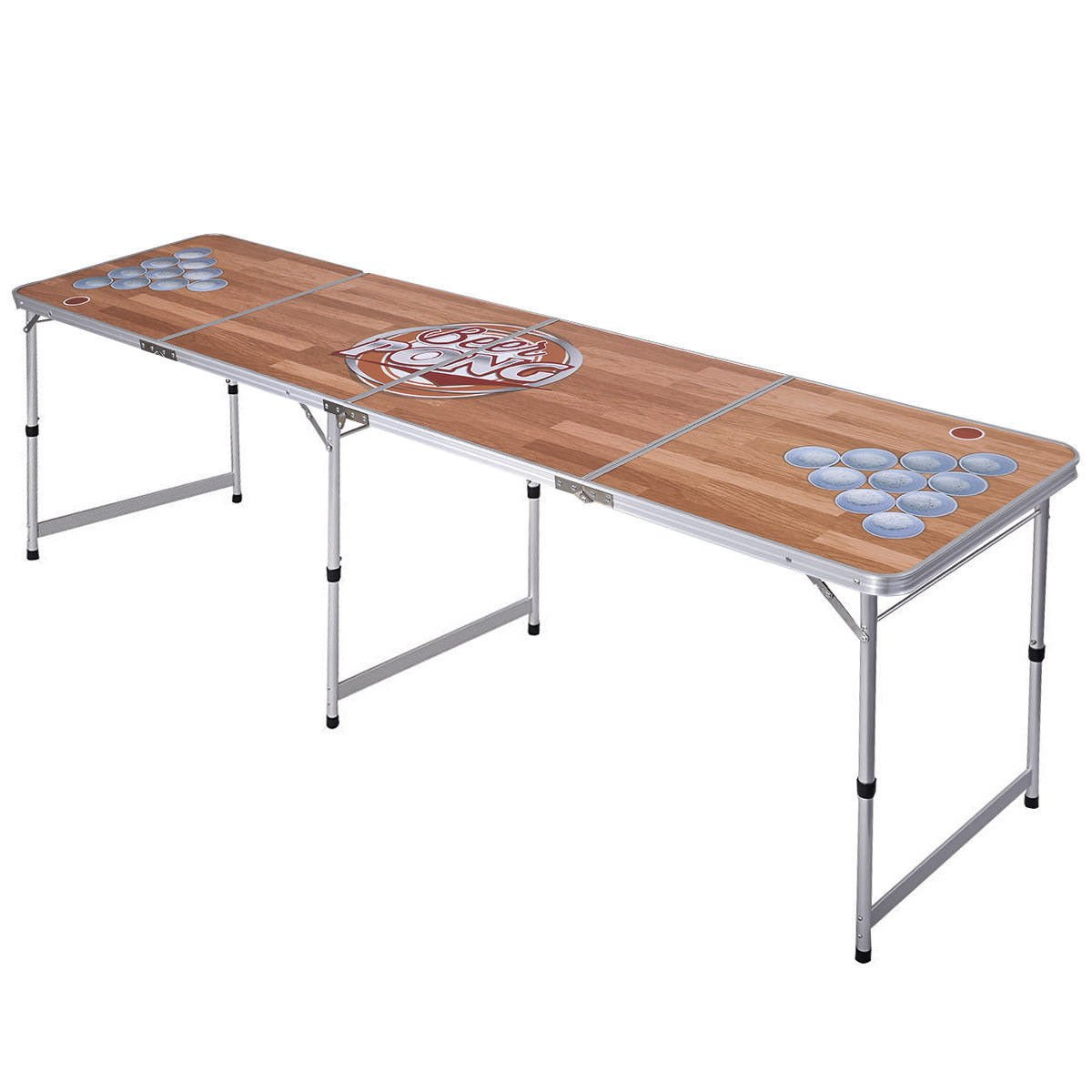 Amazon Com Ghp 8 Ft Long Folding Aluminum Frame Mdf Table Adjustable Height Top Beer Pong Table Sports Outdoors