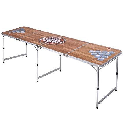 amazon com giantex 8 portable beer pong table foldable adjustable