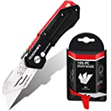 Folding Utility Knife with SK5 Blades 100Pack, RegerKnife Heavy Duty Box Cutters Carpet Knife with Pocket Clip, Lock…