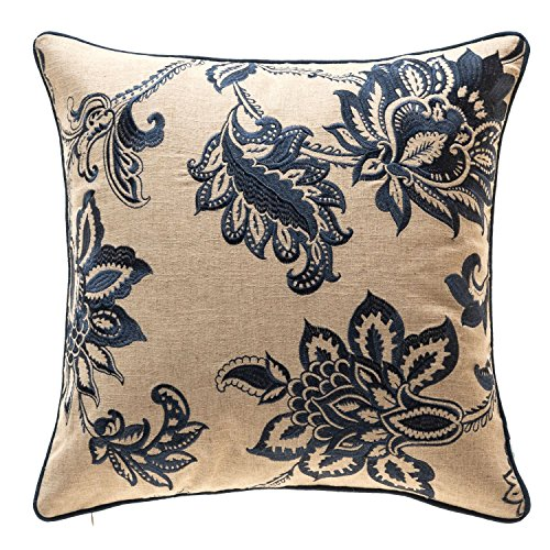 TINA'S HOME Embroidery Linen French Country Floral Decorative Throw Pillows | Toss Pillows for Living Room Couch Sofa Bed Decor (20 x 20 inches, Navy Blue)