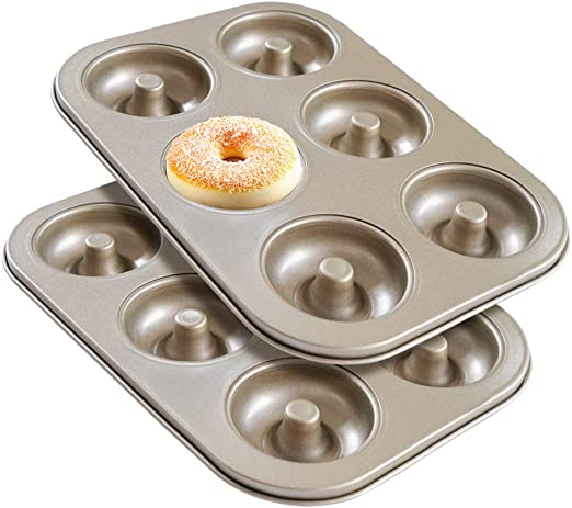 Pack of 2 6-Cavity Donut Baking Pan//Non-Stick bagels Mold Carbon Steel With Quick-Release Non-Stick Coating Clean Up Easy