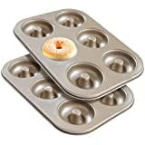Donut Pan Set of 2, Beasea Nonstick Donut Baking Pans, Carbon Steel Donut Mold, Donut Baking Tray Bagels Mold for 6…
