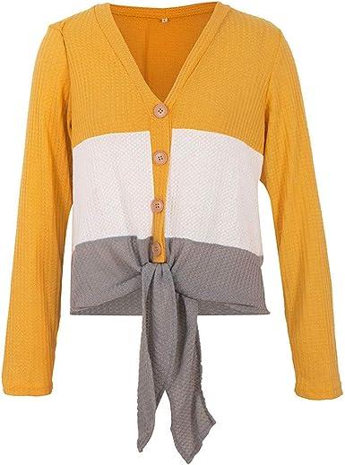 Camisa Nudo Patchwork para Mujer Casual Manga Larga con Cuello en v Botones Blusa Sueltos Amarillo XL: Amazon.es: Ropa y accesorios